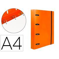Carpeta con recambio liderpapel a4 cuadro 5mm 100 hojas 80g polipropileno 4 anillas 25mm color naranja - Imagen 1