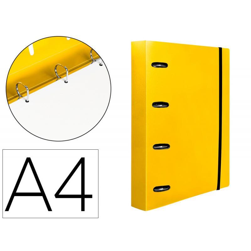 Carpeta con recambio liderpapel a4 cuadro 5mm 100 hojas 80g polipropileno 4 anillas 25mm color amarillo - Imagen 1