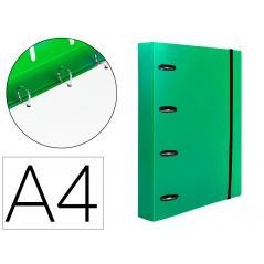 Carpeta con recambio liderpapel a4 cuadro 5mm 100 hojas 80g polipropileno 4 anillas mixtas 25mm verde - Imagen 1