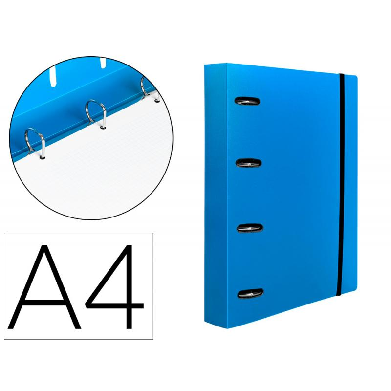 Carpeta con recambio liderpapel a4 cuadro 5mm 100 hojas 80g polipropileno 4 anillas mixtas 25mm azul - Imagen 1